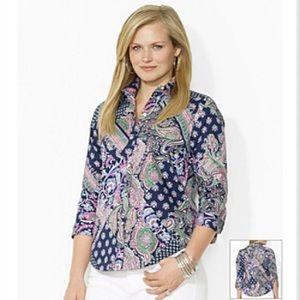 NWT Lauren Ralph Lauren Non-Iron Paisley Shirt